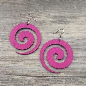 Pink Spiral Wood Earrings